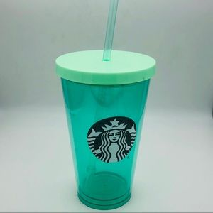 Teal Bluegreen B & W Mermaid Starbucks Lidded Cup
